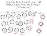 Telling Time to the Nearest Hour, Half Hour, Quarter Hour,