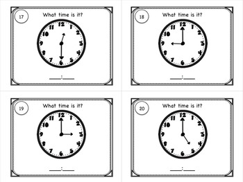 Telling Time to the Nearest Hour & Half Hour Task Cards for Centers or SCOOT