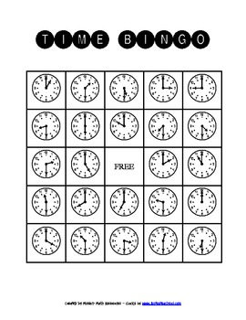 Telling Time to the Nearest Hour and Half-Hour BINGO