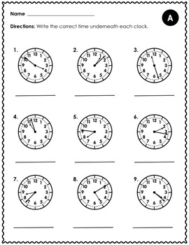 Telling Time to the Nearest Minute - 3.MD.1
