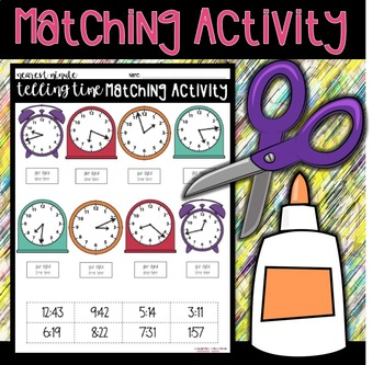 Telling Time to the Nearest Minute Assessment and Matching Activity