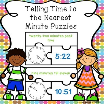 Telling Time Game Puzzles for Telling Time to the Minute 3.MD.1