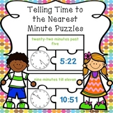 Math Center 3rd Grade Telling Time to the Minute Game Puzzles 3.MD.1