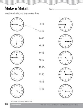 Telling Time to the Nearest Quarter-Hour