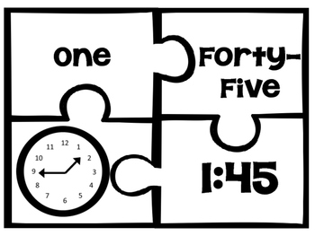 Telling Time to the Nearest Quarter Hour Puzzles