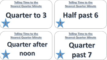 Telling Time to the Nearest Quarter Hour Task Cards
