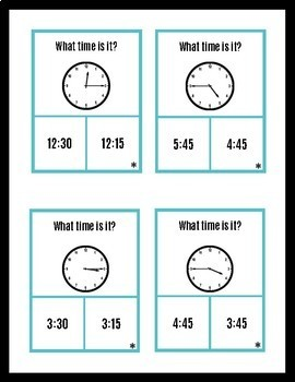 Telling Time to the Quarter Hour (Autism - special education - early elementary)
