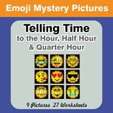 Telling Time to the Quarter Hour - Emoji Math Mystery Pictures