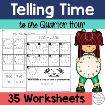 telling time to the quarter hour printable worksheets by kdgteacherabc. Black Bedroom Furniture Sets. Home Design Ideas