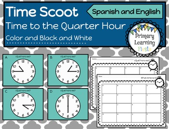 Telling Time to the Quarter Hour Scoot Activity - Spanish and English
