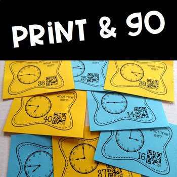Telling Time to the Quarter Hour Task Cards (Optional QR Codes) Common Core
