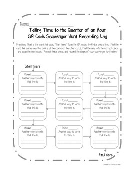 Telling Time to the Quarter of an Hour QR Code Scavenger Hunt