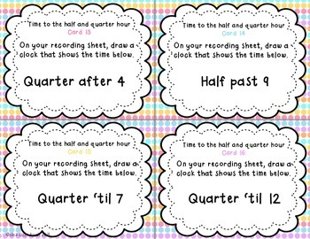 Telling Time to the half and quarter hour task cards {FREEBIE}