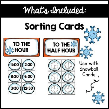 Telling Time to the hour and Half Hour Centers  {Snowman Edition}