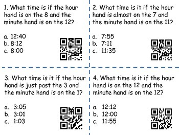 Telling Time to the nearest 5 minutes  (QR codes)