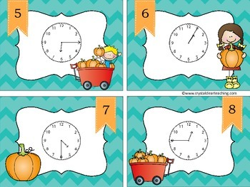 Telling Time up to 5 Minutes - Fall Themed Task Cards