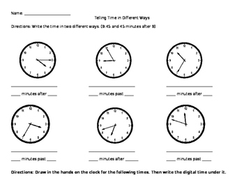 Telling Time using After and Past