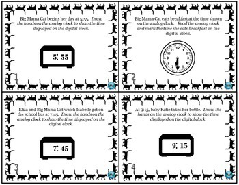 Telling Time with Big Mama Cat: Telling & Writing Time (Digital & Analog Clocks)