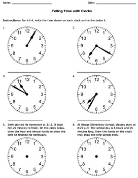 Common Core Telling Time Worksheets by First Grade Common ...  |Common Core Time Worksheets