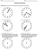 Telling Time with Clocks Worksheet Pack (Common Core)