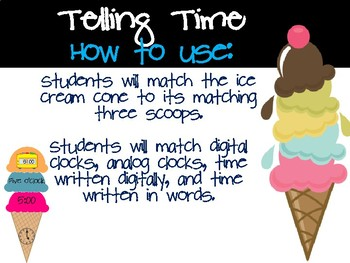 Telling Time with Ice Cream Math Tub