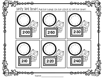 "Woodland Themed ""Clock Critters"" Labels and Centers"