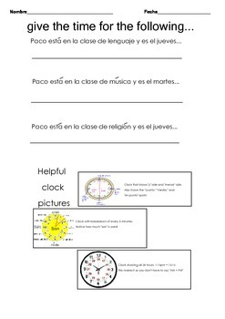 Telling Time with authentic Spanish school schedule