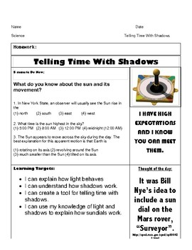Telling Time with the Sun - Making a sun dial