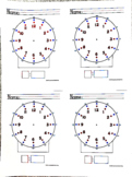 Telling Time worksheet (color coded)