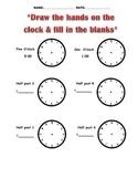 Telling Time worksheets - o'clock, half past, quarter to, quarter after