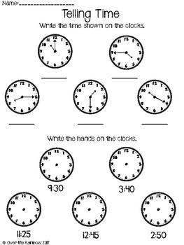 Telling & Writing Time Quiz **to the 5 minutes