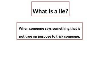 Telling a Lie is Bad Social Story PowerPoint