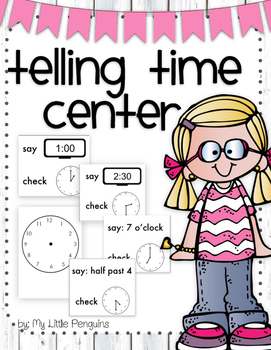 Telling and Writing Time Math Center Analog & Digital clocks (half hour)