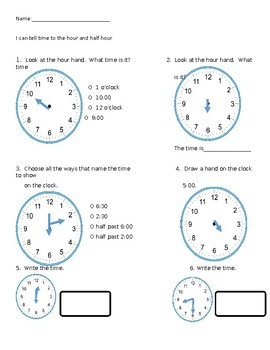 Telling and Writing Time (Hour/Half Hour)
