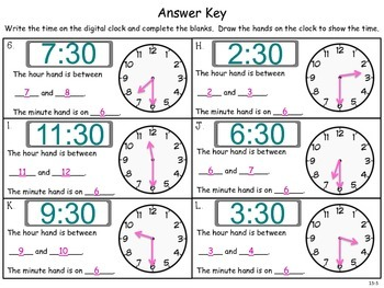 Telling and Writing Time to the Half Hour - First Grade enVision Math