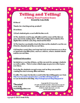 Telling and Yelling: A Time Telling Practice Game