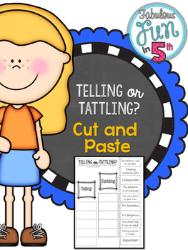 Telling or Tattling? Cut and Paste Sorting Activity