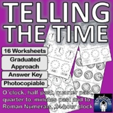 Telling the Time: 16 Worksheets, Answer Key, Photocopiable