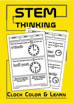 Telling the Time Analogue Clocks Color and Learn Doodle Notes, Elementary Math