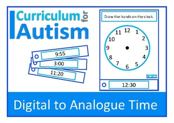 Telling Time Digital to Analogue Clock, Life Skills Math, Autism, Special Ed