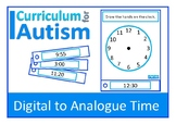Telling Time Digital to Analogue Clock Life Skills Autism Special Education