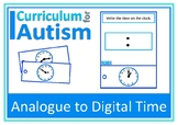 Telling the Time Analogue to Digital Clock Life Skills Autism Special Education