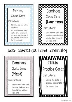Telling the Time: Dominoes Cards, Matching Cards, Task Cards and more!