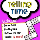 Telling the Time: Dominoes Cards, Matching Cards, Task Car
