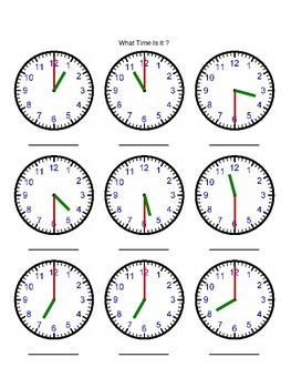 Telling the Time Half Hour Increments