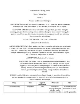 LINC / ESL: Telling the Time Lesson Plan Packet (Includes Activities) CLB 1