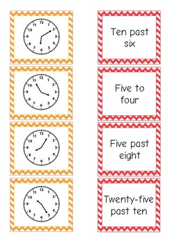 Telling Time Free! Match Activity {o'clock, half past, quarter to, quarter past}