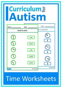 Telling the Time Worksheets, Autism, Special Education, ABA, Math