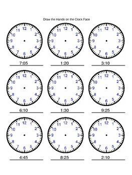 Telling the time 5 minute increments