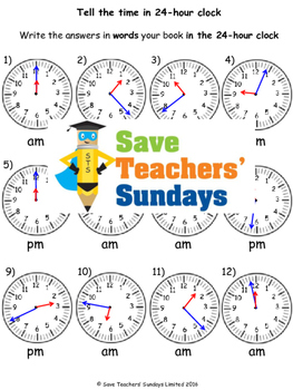 Telling the time in words worksheets (4 levels of difficulty)